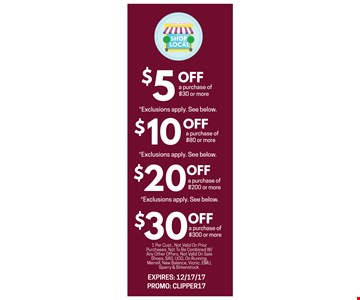 Save up to $30 off