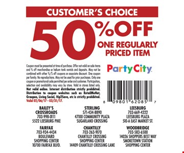 50% Off One Regularly Priced Item