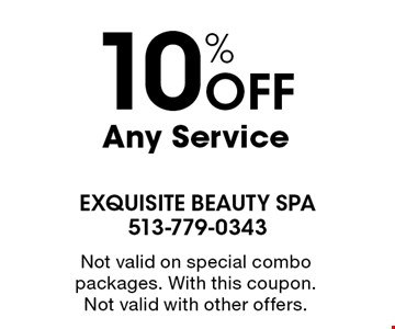 10% Off Any Service. Not valid on special combo packages. With this coupon.Not valid with other offers.