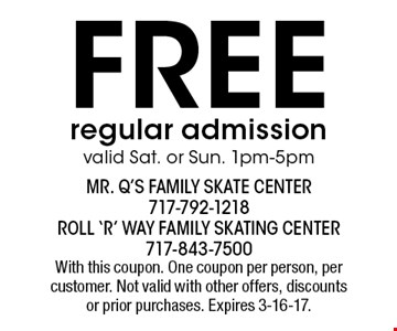 FREE regular admission valid Sat. or Sun. 1pm-5pm. With this coupon. One coupon per person, per customer. Not valid with other offers, discounts or prior purchases. Expires 3-16-17.