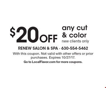 $20 off any cut & color. New clients only. With this coupon. Not valid with other offers or prior purchases. Expires 10/27/17. Go to LocalFlavor.com for more coupons.
