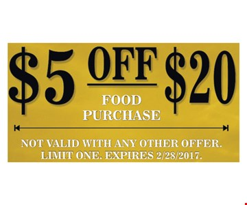 $5 off your $20 food purchase.