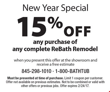 New Year Special - 15% off any purchase of any complete ReBath Remodel when you present this offer at the showroom and receive a free estimate. Must be presented at time of purchase. Limit 1 coupon per customer. Offer not available on previous estimates. Not to be combined or valid with other offers or previous jobs. Offer expires 2/24/17.