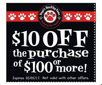 $10 off the purchase of $100 or more