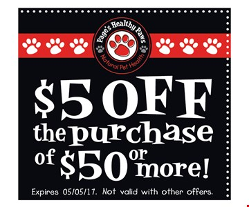 $5 off the purchase of $50 or more