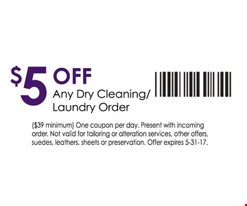 $5 of any dry cleaning / laundry order