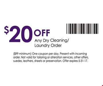 $20 off any dry cleaning/laundry order