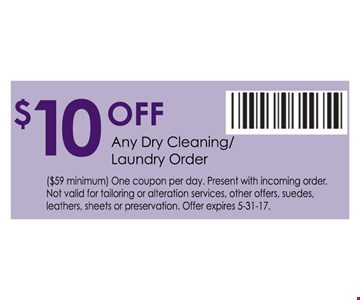 $10 off any dry cleaning/laundry order