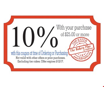 10% off with your purchase of $25 or more