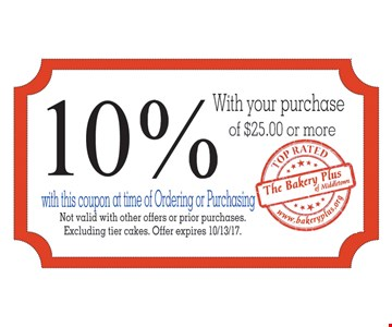 10% With Your Purchase Of $25.00 Or More