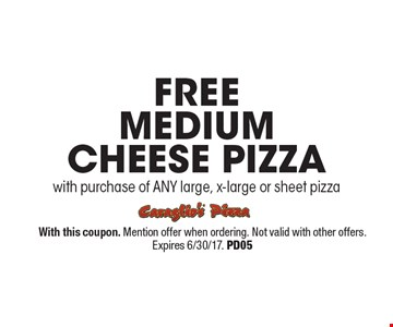 FREE medium cheese pizza. With purchase of ANY large, x-large or sheet pizza. With this coupon. Mention offer when ordering. Not valid with other offers. Expires 6/30/17. PD05