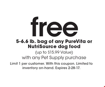 free 5-6.6 lb. bag of any PureVita or NutriSource dog food (up to $15.99 Value) with any Pet Supply purchase. Limit 1 per customer. With this coupon. Limited to inventory on-hand. Expires 2-28-17.