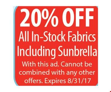 20% Off All In-Stock Fabrics Including Sunbrella