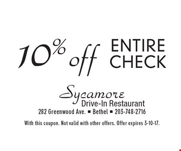 10% off entire check. With this coupon. Not valid with other offers. Offer expires 3-10-17.