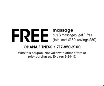 Free massage. Buy 3 massages, get 1 free (total cost $180. savings $60). With this coupon. Not valid with other offers or prior purchases. Expires 2-24-17.