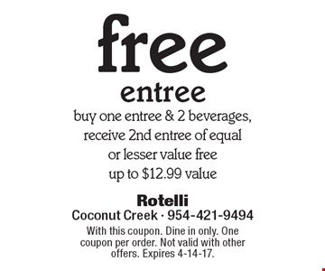 free entree buy one entree & 2 beverages, receive 2nd entree of equal or lesser value free up to $12.99 value. With this coupon. Dine in only. One coupon per order. Not valid with other offers. Expires 4-14-17.