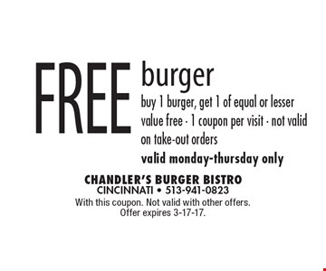 Free burger. Buy 1 burger, get 1 of equal or lesser value free. One coupon per visit. Not valid on take-out orders. Valid Monday-Thursday only. With this coupon. Not valid with other offers. Offer expires 3-17-17.