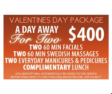 Valentines Day Package $400