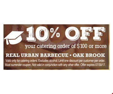 10% off your catering order of $100 or more