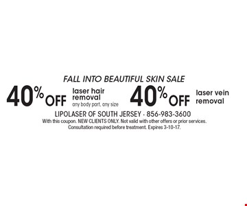 FALL INTO BEAUTIFUL SKIN SALE 40% OFF laser vein removal. 40% OFF laser hair removal any body part, any size. With this coupon. NEW CLIENTS ONLY. Not valid with other offers or prior services. Consultation required before treatment. Expires 3-10-17.
