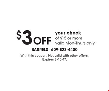 $3 OFF your check of $15 or more. Valid Mon-Thurs only. With this coupon. Not valid with other offers. Expires 3-10-17.