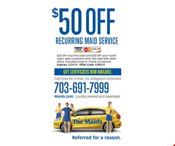 $50 off recurring maid service