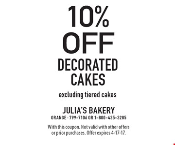 10% off Decorated cakes. Excluding tiered cakes. With this coupon. Not valid with other offers or prior purchases. Offer expires 4-17-17.
