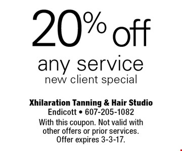 20% off any service. New client special. With this coupon. Not valid with other offers or prior services. Offer expires 3-3-17.
