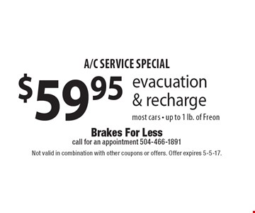 A/C service special $59.95 evacuation & recharge most cars - up to 1 lb. of Freon. Not valid in combination with other coupons or offers. Offer expires 5-5-17.