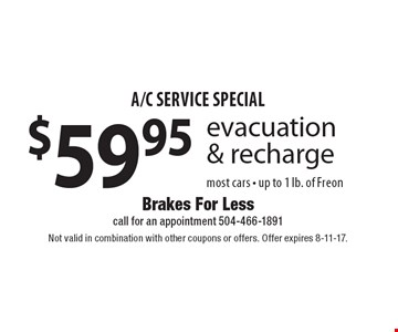 A/C service special $59.95 evacuation & recharge. most cars - up to 1 lb. of Freon. Not valid in combination with other coupons or offers. Offer expires 8-11-17.