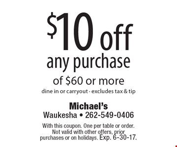 $10 off any purchase of $60 or more. dine in or carryout. excludes tax & tip. With this coupon. One per table or order. Not valid with other offers, prior purchases or on holidays. Exp. 6-30-17.