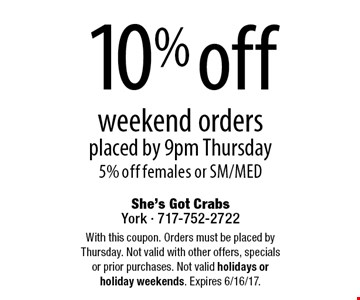 10% off weekend orders placed by 9pm Thursday. 5% off females or SM/MED. With this coupon. Orders must be placed by Thursday. Not valid with other offers, specials or prior purchases. Not valid holidays or holiday weekends. Expires 6/16/17.