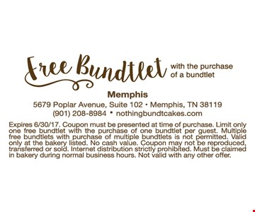 Free Bundtlet with purchase of a bundtlet