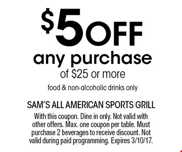 $5 off any purchase of $25 or more food & non-alcoholic drinks only. With this coupon. Dine in only. Not valid with other offers. Max. one coupon per table. Must purchase 2 beverages to receive discount. Not valid during paid programming. Expires 3/10/17.