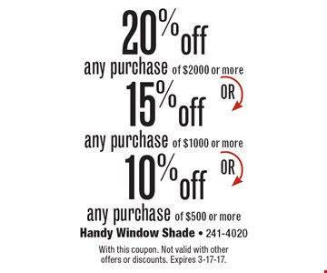 20% off any purchase of $2000 or more. 15% off any purchase of $1000 or more. 10% off any purchase of $500 or more. With this coupon. Not valid with other offers or discounts. Expires 3-17-17.