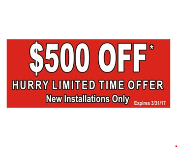 $500 Off Hurry Limited Time Offer