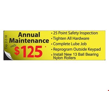 Annual Maintenance $125