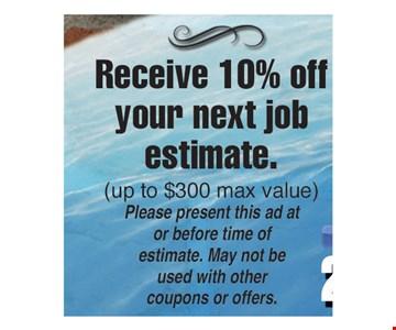10% off your next job estimate