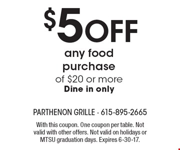 $5 Off any food purchase of $20 or more. Dine in only. With this coupon. One coupon per table. Not valid with other offers. Not valid on holidays or MTSU graduation days. Expires 6-30-17.