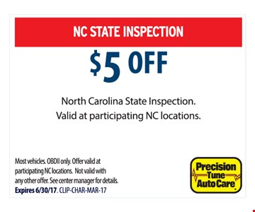 $5 Off NC State Inspection
