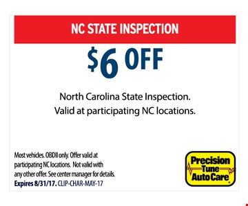 NC State Inspection $6 off