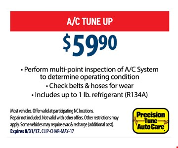 A/C Tune Up $59.90