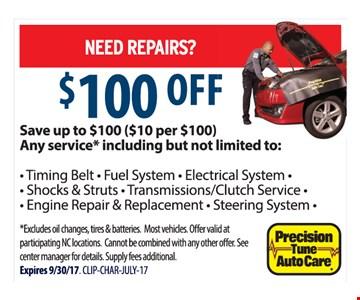 $100 Off Repairs
