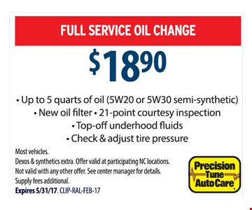 Oil change for $18.90.