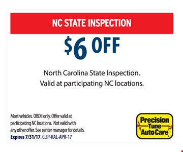 $6 Off NC State Inspection