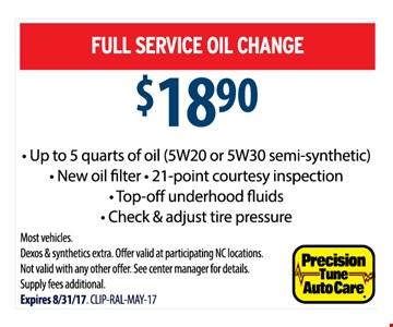 $18.90 Oil Change