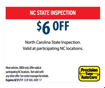 $6 Off state inspection