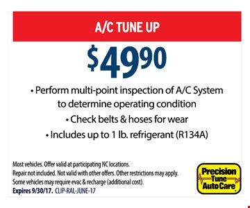 A/C Tune Up $49.90