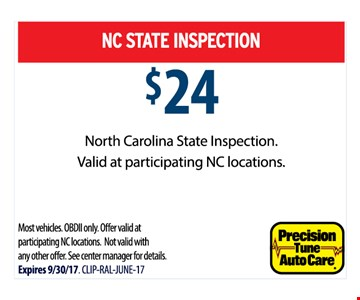 NC State Inspection $24