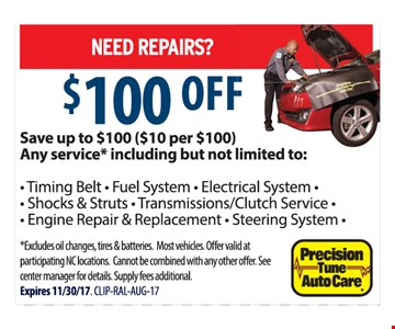Up to $100 off repairs